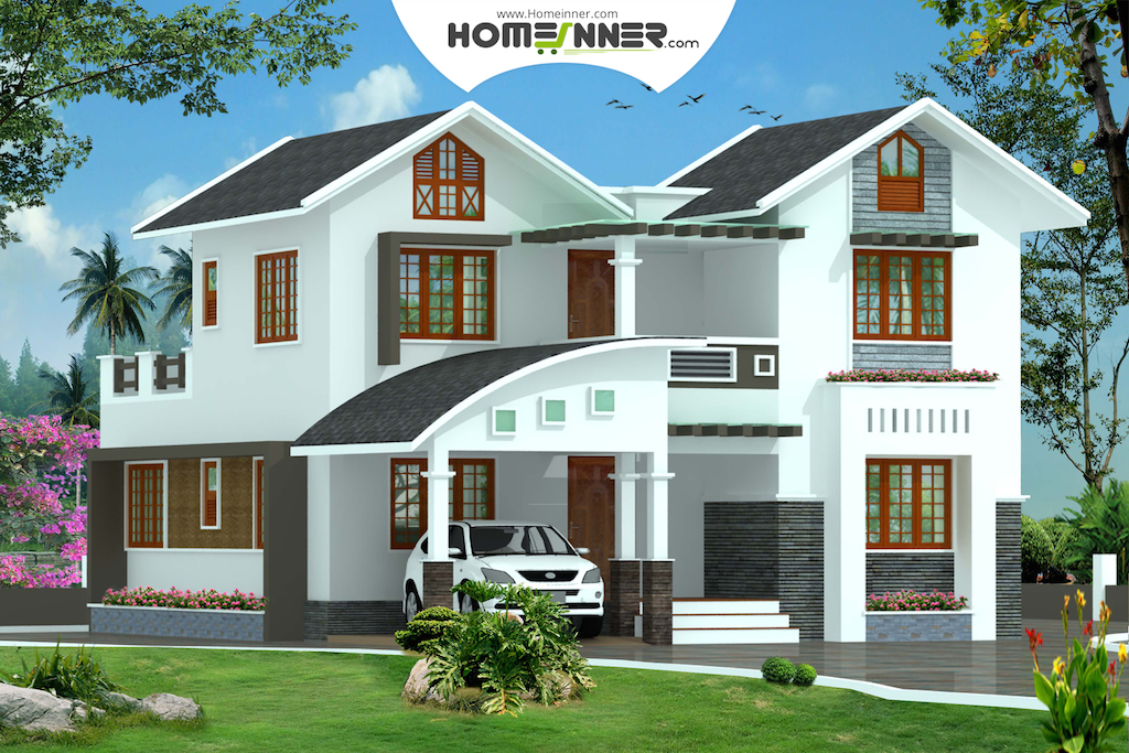 Kerala Style 4 Bhk 1950 sq ft Modern Home Design