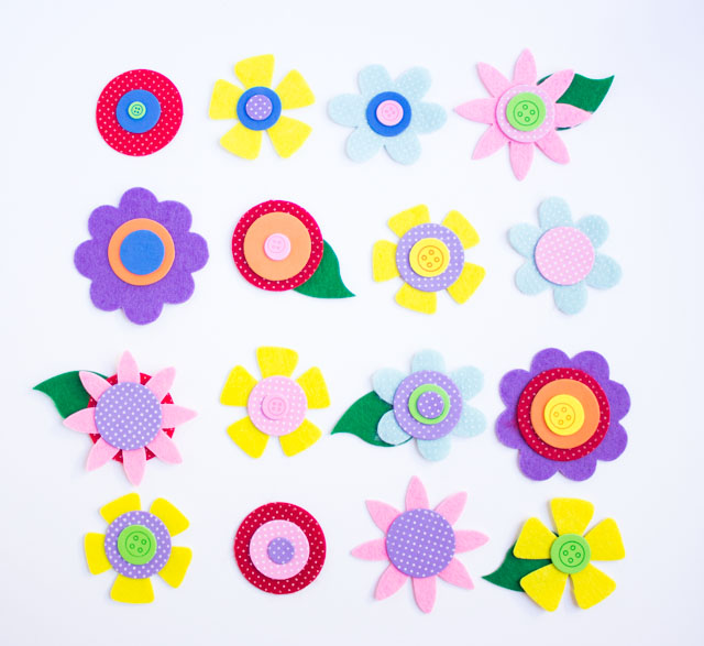 Pretty precut felt and foam flower kit from Oriental Trading