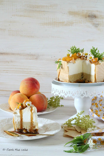caramelized-peach-frozen-tart, tarta-helada-de-melocoton-caramelizado