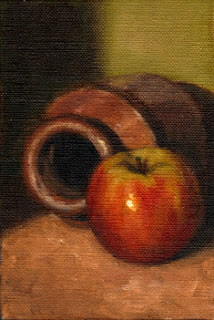 Oil painting of a red and green apple beside a brown earthenware jar lying on its side.