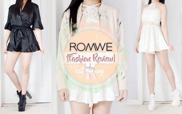 I hope you guys aren't getting tired of my fashion reviews, because today I have another one! I'll be reviewing my latest package from Romwe, containing a black v-neck ruffled romper, beige satin cropped bomber jacket, and sleeveless white lace romper. Details ahead! - Eat My Knee Socks / Mimchikimchi