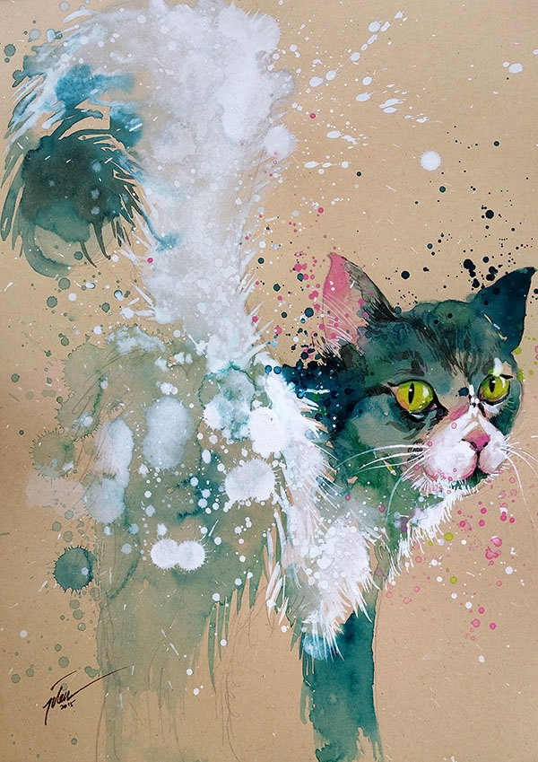 04-Cat-Tilen-Ti-Colorful-Watercolor-Paintings-of-Animals-www-designstack-co