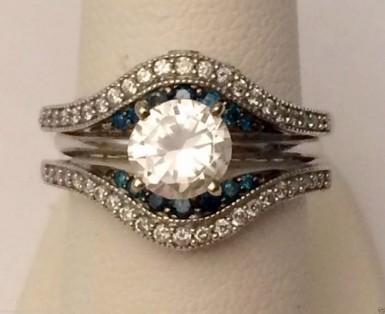 1//2 Ct Blue /& White Diamond Ring Wrap Guard Insert Enhancer 14K Rose Gold Over
