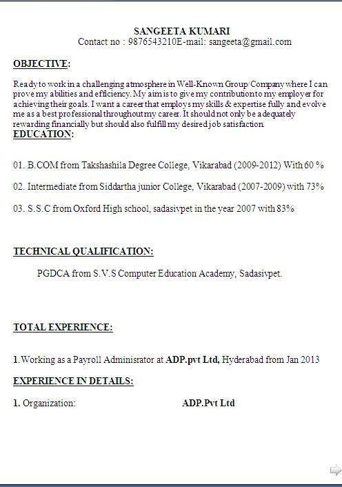 sample pgdca resume format in word for freshers experienced