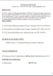 Sample Pgdca Resume Format In Word For Freshers Amp Experienced