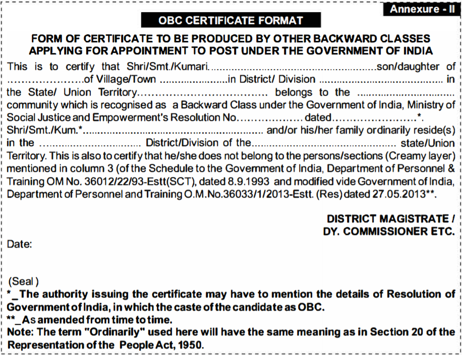 Rrb Ntpc Caste Certificate Format For Obc Sc St Candidates W3i