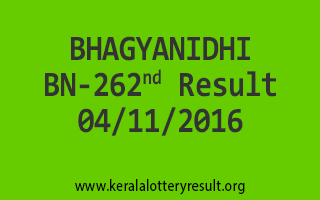 BHAGYANIDHI BN 262 Lottery Results 4-11-2016
