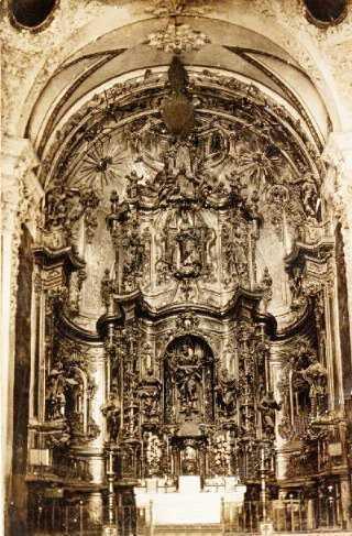 fotos antiguas, Beceite, Beseit, blanco y negro, b&n, blanco, negro, sepia, altar iglesia San Bartolomé