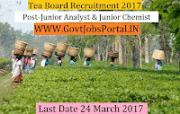 Tea Board Recruitment 2017– Junior Analyst & Junior Chemist