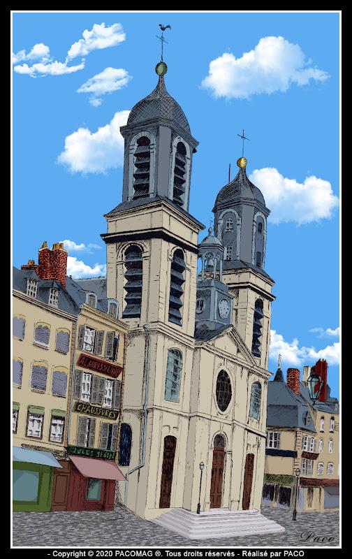 dessin église Saint Charles de Sedan sur la place d'armes