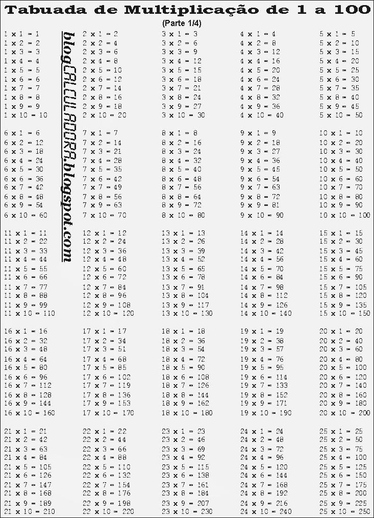 Blog Calculadora Tabuadada De Multiplicacao De 1 A 100 Para Imprimir