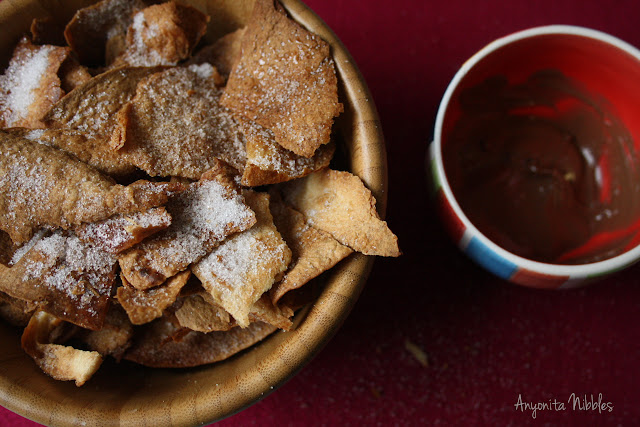 Anyonita Nibbles: Twice Baked Tostada Crisps with Cinnamon Sugar and Chocolate