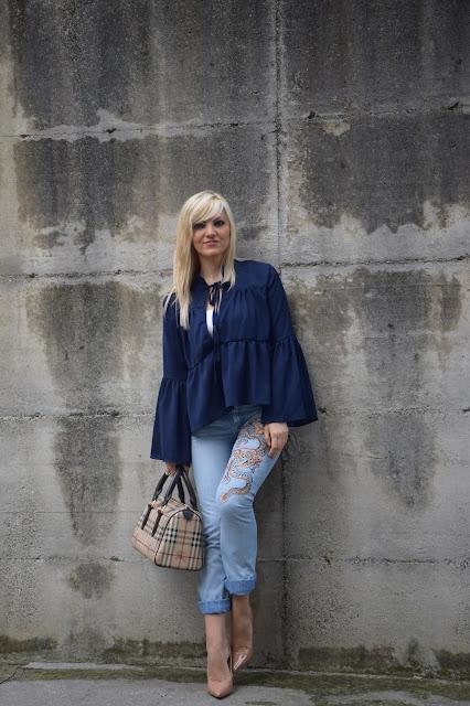 outfit jeans ricamati come abbinare i jeans ricamati abbinamenti jeans ricamati outfit ottobre 2016 fashion blog italiani fashion blogger italiane blogger di moda mariafelicia magno