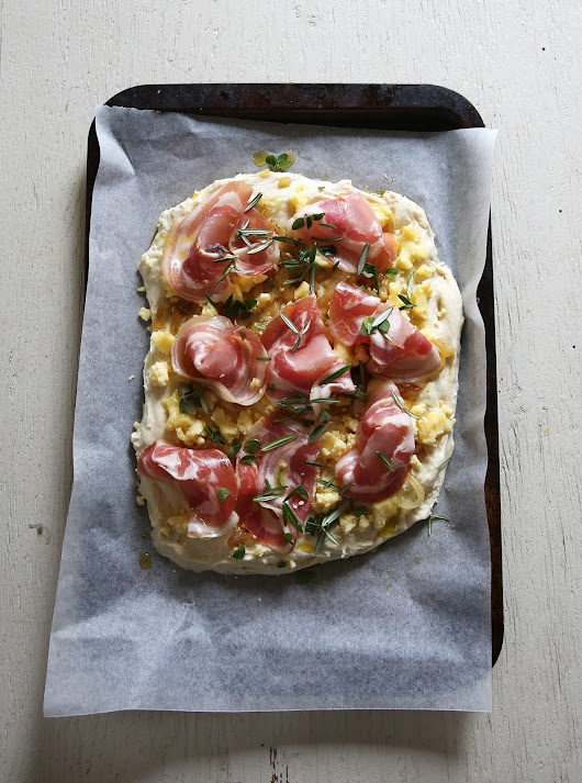 Pancetta and Cheddar Focaccia or, an adult Cheese and Bacon Roll