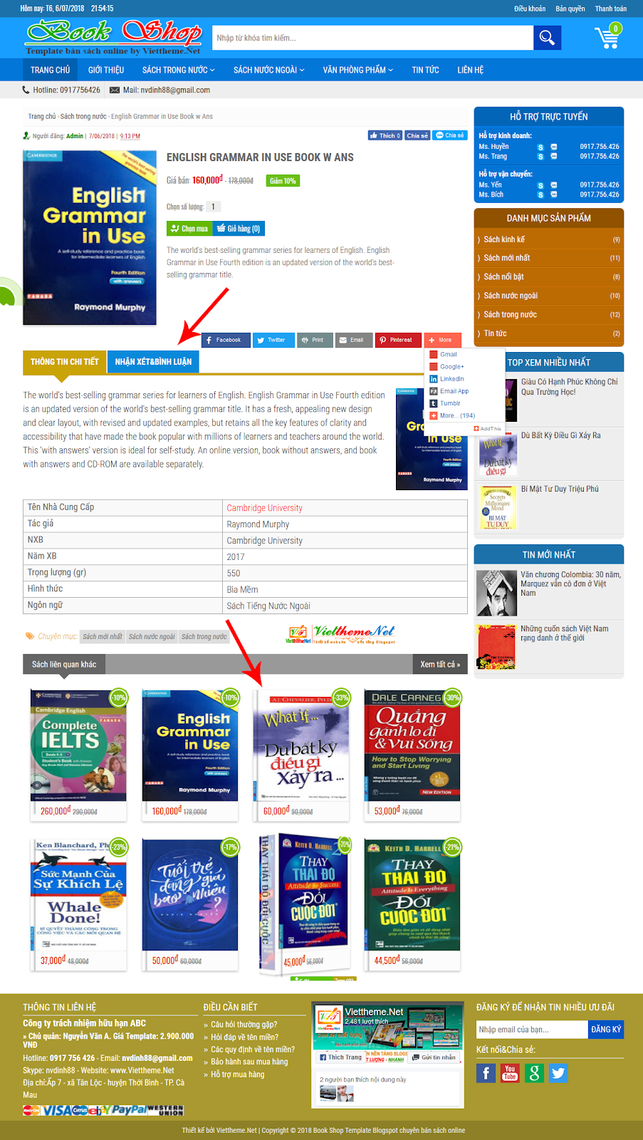 trang chi tiet template bookshop