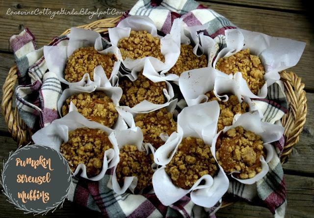Pumpkin Streusel Muffins, Pumpkin Crunch Muffins, Pumpkin Spice Muffins, Cinnamon Crunch Muffins, by Rosevine Cottage Girls