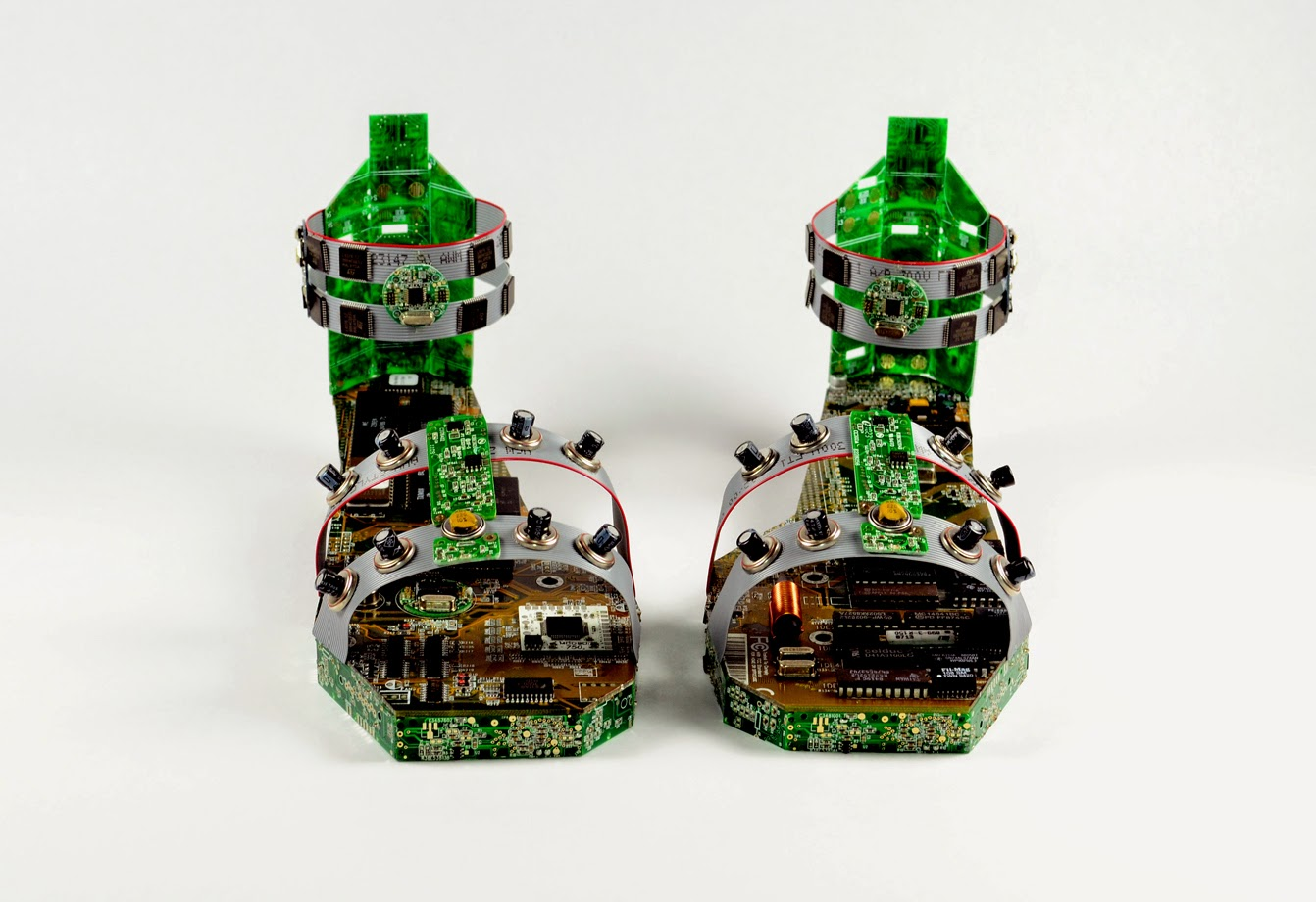 12-Shoes-2-Steven-Rodrig-Upcycle-PCB-Sculptures-from-used-Electronics-www-designstack-co