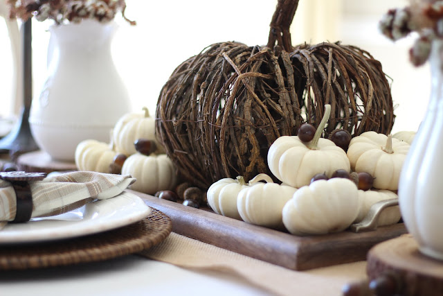 natural fall tablescape with willow pumpkin and baby white pumpkins wood tray