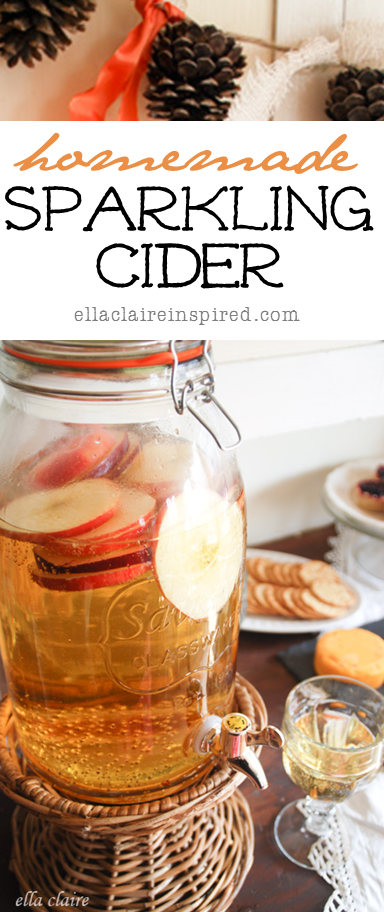 The perfect Fall Drink for your Holiday parties! Homemade Sparkling Cider by EllaClaireInspired.com