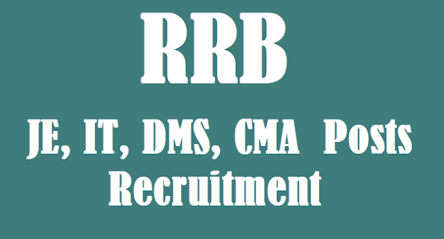 TS Jobs, RRB Jobs, RRB Recruitment, Junior Engineer Jobs, RRB JE Posts, Indian Railways Recruitment, Railway Recruitmenr Board, JE Jobs, Indian Railway JE, IT, DMS, CMA Jobs