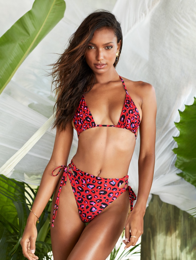 Lais Ribeiro models Victoria's Secret bandeau bikini top and matching bottom