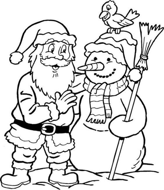 Tranh tô màu ông già Noel và người tuyết