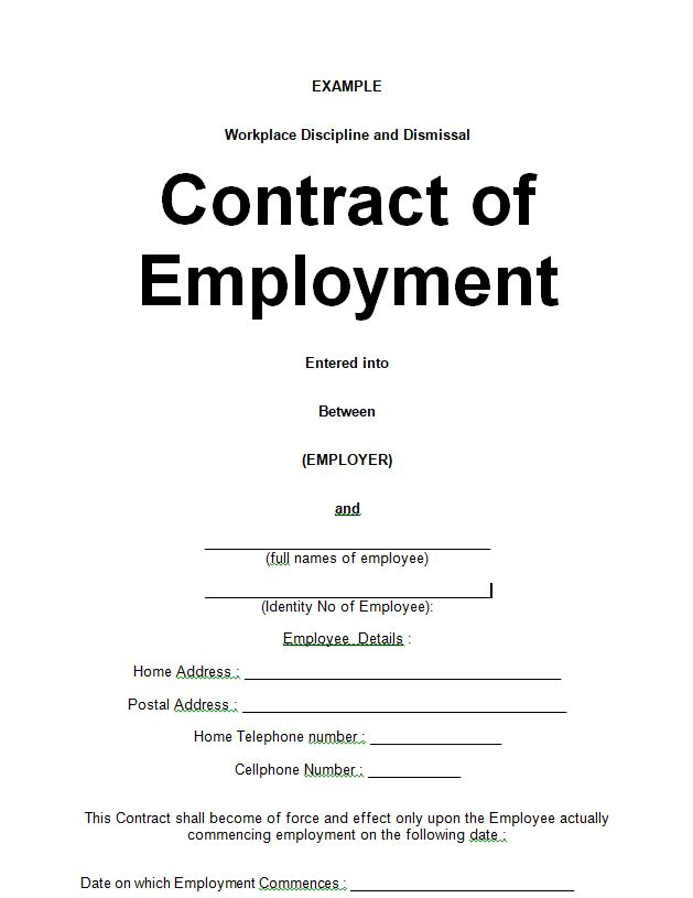 example simple emloyment contracts doc form