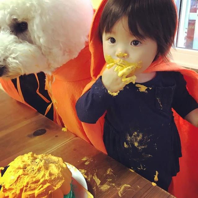 Loạt ảnh Halloween của bé gái Nhật và thú cưng