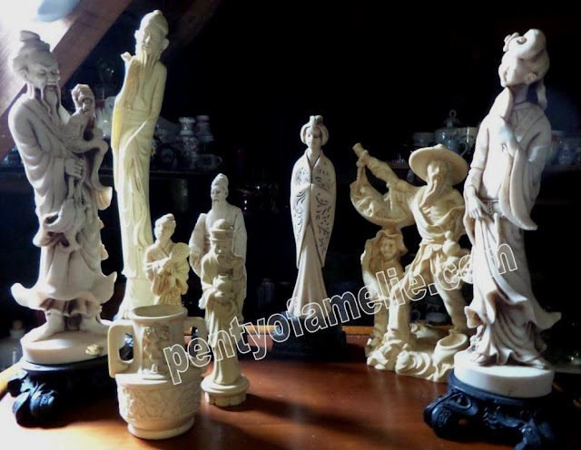 Vintage Oriental Alabaster Figures,Chinese Men and Women, Ivory Statuette. Peasant Men, Wise Men of Ancient China.