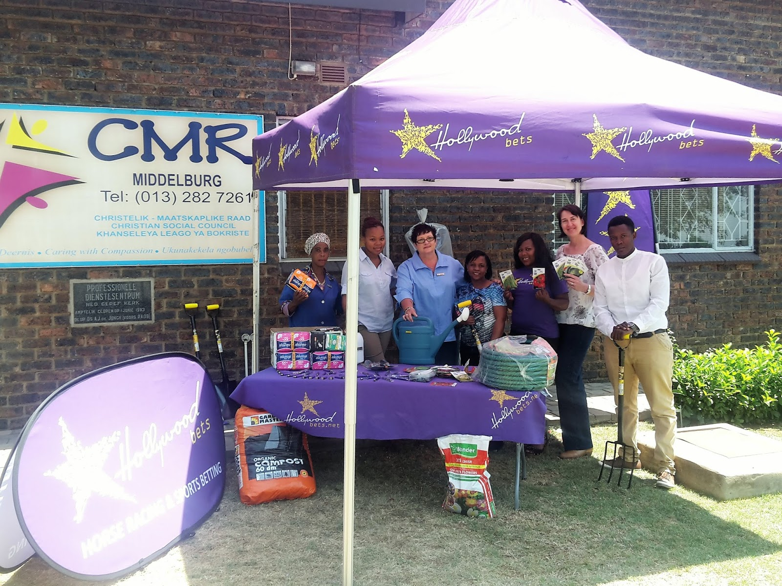 CMR Middelburg staff are thankful for a donation of sanitary pads and gardening tools