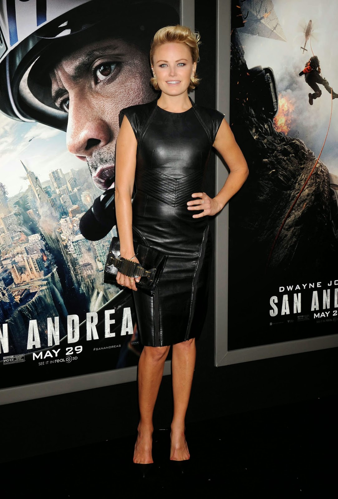 Malin Akerman in a leather pencil dress at the 'San Andreas' Hollywood premiere
