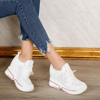 Pantofi sport cu platforma albi la moda