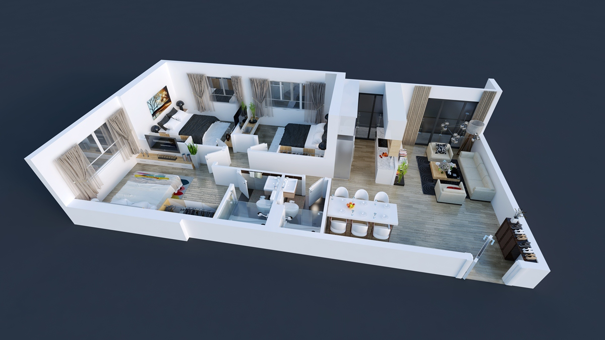 Thiết kế chi tiết căn hộ 03,04,09,10 tòa Spring - GoldSeason