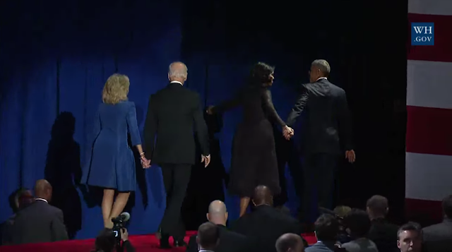 President Obama Farewell Address Chicago January 10 2017 ending First Family Second holding hands Michelle Barack Joe Jill Biden off stage