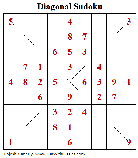 Diagonal Sudoku (Fun With Sudoku #242)
