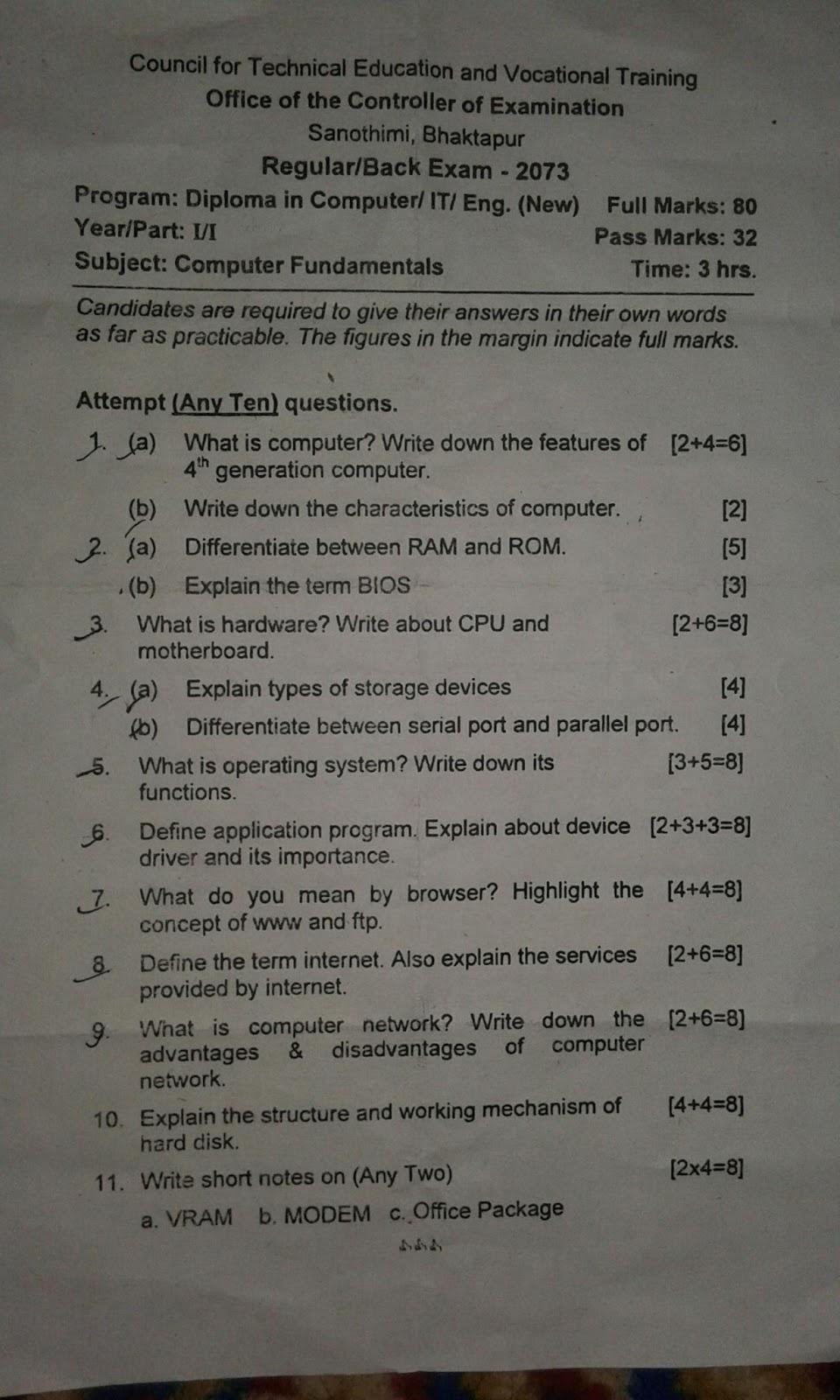 CTEVT-Computer-Fundamentals-Question-Paper-2073-Diploma-1st-Year-1st-Part