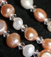 Freshwater pearls (with Swarovski crystals) necklace :: All Pretty Things