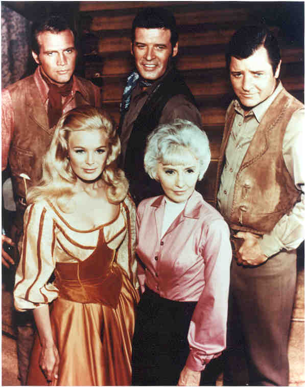 baee78845 The cast of the TV show The Big Valley - Front: Linda Evans (Audra  Barkley), Barbara Stanwyck (Victoria Barkley) Back: Lee Majors (Lee  Majors), ...