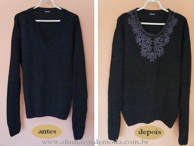 O suéter antes e depois da customização.