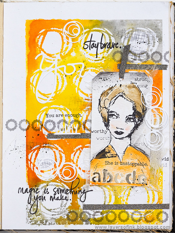 Layers of ink - Stay Brave Art Journal Page by Anna-Karin Evaldsson