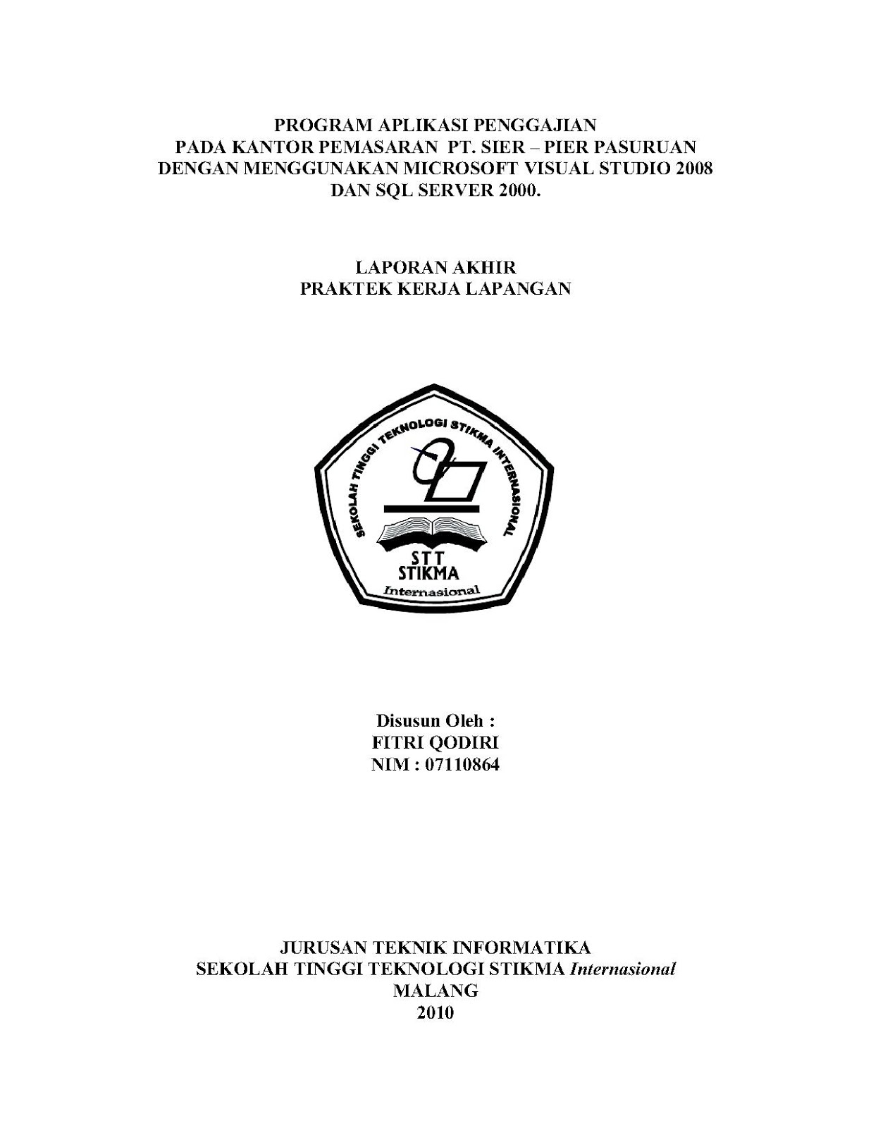Contoh Cover Proposal Skripsi Wood Scribd Indo