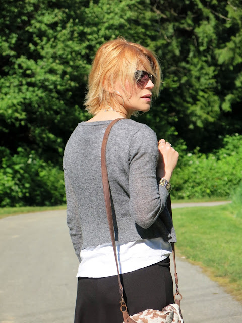shrunken cardigan, slouchy white tee, sunglasses, House of Harlow 1960 bag