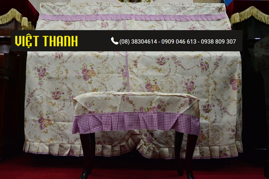 Bán Khăn phủ đàn Piano thêu hoa hồng tím - KD01 Giá Rẻ Tphcm