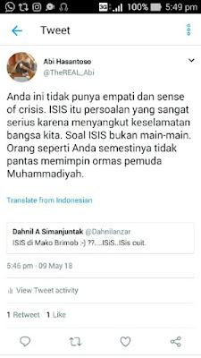 Komentar Menohok Netizen untuk Ketua Pemuda Muhammadiyah Keterlaluan Nyinyir Kerusuhan di Mako Brimob dengan Bilang ISIS di Mako Brimob, ISIS, ISIS Crit...