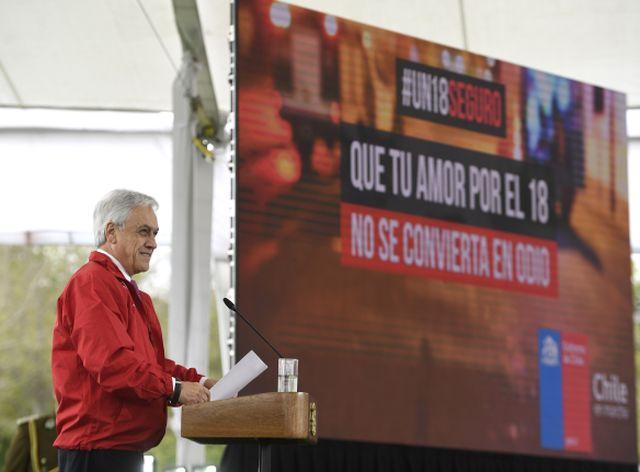 """Presidente Piñera lanza campaña """"Un 18 seguro"""""""