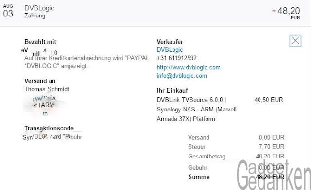 Screenshot: Paypal Belastung für DVBLink TV Source 6.0.0