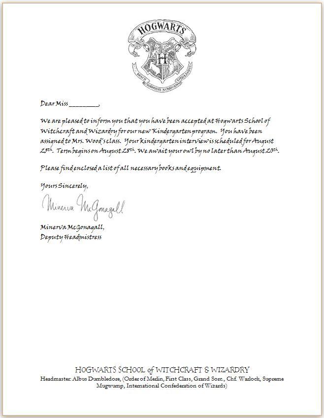 18 Harry Potter Acceptance Letter Template