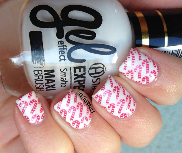 Candy canes nail art
