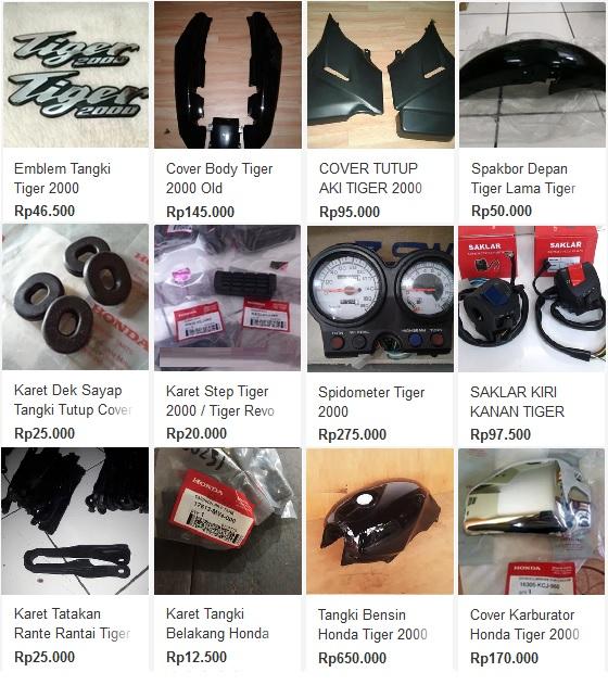 Honda Tiger 2000 body parts pricelist