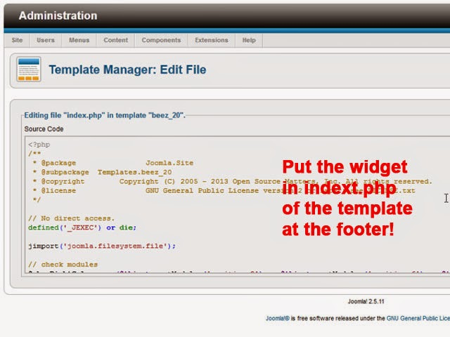 Adding Visitor Widget to the Joomla Footer Template ...
